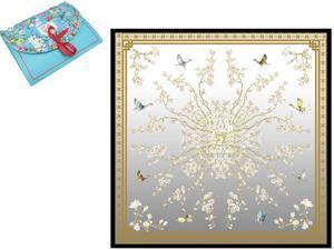 "Luxury Gift 100% Pure Silk Scarfs For Women Square Hair Scarf Wrap Headscarf 35""*35"" Flower"
