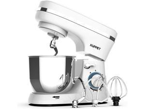KUPPET Stand Mixer, 8-Speed Electric Mixer, Tilt-Head Food Mixer with Dough Hook, Wire Whip & Beater, 4.7QT Stainless Steel Bowl, White