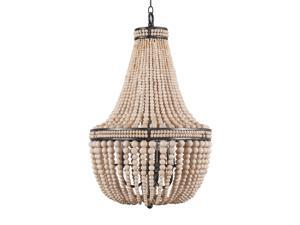 Farmhouse Wood Beaded Chandelier Ceiling Pendant 3-Light Fixture Wooden Bead and Metal Chandeliers Hanging Lighting Home Decor Lamp for Bedrooms, Kitchen,Bathroom, Living Room