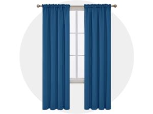 Deconovo Solid Rod Pocket Blackout Curtains Thermal Insulated Room Darkening Blackout Drapes for Living Room 52x95 Inch Dark Blue 4 Pcs