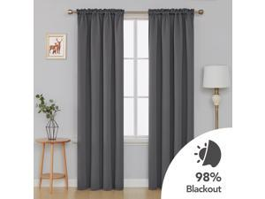 Deconovo Thermal Insulted Blackout Bedroom Curtains Room Darkening Curtain Panels for Living Room 42x90 Inch Beige