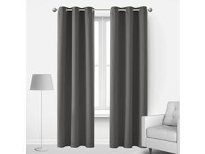 Deconovo Thermal Insulted Blackout Bedroom Curtains Room Darkening Curtain Panels for Living Room 42x90 Inch Light Grey