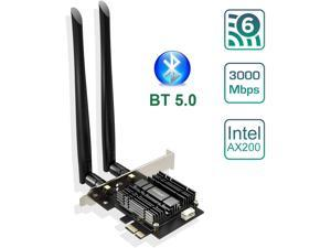 Wifi Adapter, EDUP WiFi 6 Card AX 3000Mbps PCIe Network Card AX200 2.4Ghz/5.8Ghz with Bluetooth 5.0 & Heat Sink Wireless PCI Express Wi-Fi Adapters Dual Band Antenna for Windows 10 64-bit
