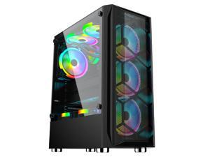BFY- Computer case mid tower ATX for gaming with RGB led lights cooling fan full white for desktop pc  Tempered Glass