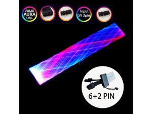 UDO P8-11 8 Pin (6+2) ATX RGB Synchronized Sleeved Cable, 8PIN PCI-e ARGB Extension Cable Kit for Motherboard via 5V 3Pin Synchronous Light