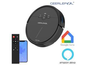 GEERLEP D2-001 1500Pa Robot Vacuum Cleaner Wi-Fi Connectivity, Works with Alexa, Good for Pet Hair, Carpets, Hard Floors, Self-Charging,120min Runtime