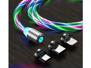 3 in 1 colorful LED Flowing Magnetic Charger Blue Cable Light Up Candy Moving Party Shining Charger Phone Charging Cable Magnetic Streamer Absorption USB Snap Quick Connect 3 in 1 USB Cable