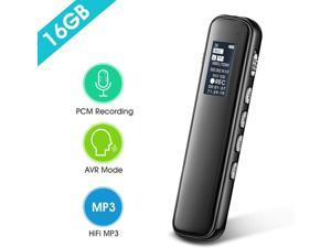Voice Activated Digital Audio Recorder, iRULU 16GB PCM HD Stereo Noise Reduction Recorder with Playback, Easy Operation Recording Device for Lecture Interview Meeting