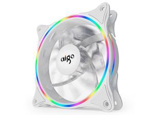 Aigo (aigo) Ice Soul Rainbow V1 chassis fan 120mm white thin aperture (supports large 4P serial interface/water cooling exhaust/shock absorption feet//freebie 4 screws)