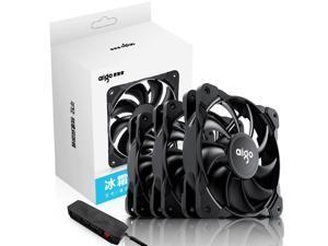 Aigo (aigo) Frost T3 fan kit 12CM black PWM temperature control computer case fan (3 fans/intelligent temperature control/with hub/shock absorbing feet)