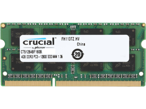 Crucial Ram 4GB 204-Pin DDR3 SO-DIMM DDR3L 1600 (PC3L 12800) Laptop Memory Model CT51264BF160B