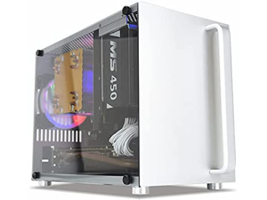 SAKOSE S4 Aluminum Mini Tower Computer Case with Tempered Glass Panel Gaming Computer Case Mini ITX case Mainboard SFX Power Supply Portable case USB3.0 Silver