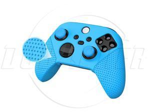 SA XboxSeriesX Controller protective cover + rocker cap Controller Silicone Cover XSX Game Controller Rubber Cover with Particles Anti-Slip Band Rocker Cap-blue