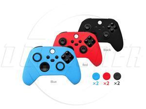 SA XboxSeriesX Controller protective cover + rocker cap Controller Silicone Cover XSX Game Controller Rubber Cover with Particles Anti-Slip Band Rocker Cap-Red