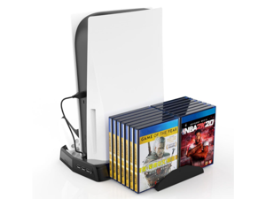 SA PS5 console cooling vertical stand with cooling fan for PS5 console and Playstation 5 digital/optical drive version. Dual-controller charging station with 3 USB hubs, storing up to 14 CD games
