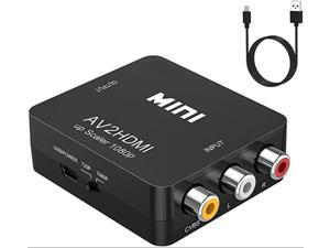 RCA to HDMI,AV to HDMI Converter,ABLEWE 1080P Mini RCA Composite CVBS Video Audio Converter Adapter Supporting PAL/NTSC for TV/PC/ PS3/ STB/Xbox VHS/VCR/Blue-Ray DVD Players