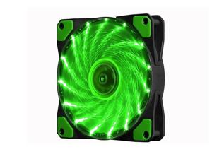 SA 120mm PC Cooling Computer 16dB Ultra Silent 15 LEDs Case Fan Heatsink Cooler Cooling w/ Anti-Vibration Rubber, 120mm Fan,12VDC, Molex 4pin, green LED Lights