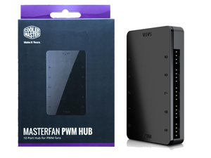 Cooler Master MasterFan PWM Hub - 1 to 10 SATA PWM hub (3-pin or 4-pin) fan hub case controller pc accessories motherboard standoffs Occupying only One 4-pin Motherboard Header (System Fan or CPU Fan)