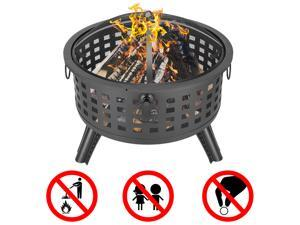 """Outdoor Fire Pit 26"""" Round Lattice Portable Wood Burning Fire Bowl with Protective Screen Poker for Patio,Garden or Deck"""