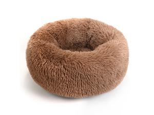 Donut Dog Cat Bed, Soft Plush Pet Cushion, Anti-Slip Fluffy Soft Warm Calming Self-Warming Pet Bed - Improved Sleep for Cats Small Medium Dogs