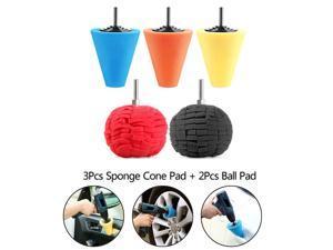 Norbi 5pc Car Polishing Pads for Wheel Hub Cleaning,   3x Buffing Shank Sponge Cone Polishing Metal Foam Pad, 2x Ball Pads