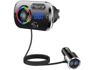 Bluetooth FM Transmitter for Car, Bluetooth 5.0 Wireless Car Radio Adapter with QC3.0 & 5V/2.4A Dual Charging Port, Easy Attached to Air Vent, Better Hands Free Car Kit, Music Player - TB27