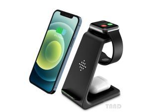 Wireless charging stand, 3-in-1 wireless charger fast charging base, suitable for Apple Watch 6 SE 5 4 3 2, Airpods 2/Pro, iPhone 12/12 Pro Max/11/11 Pro/X/XR/XS/8 Plus, QI certified mobile phones