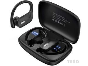 Bluetooth headset-true wireless earplug 48 hours playing time headset TWS deep bass loud voice call waterproof intelligent LED display with microphone suitable for sports running game exercise-black