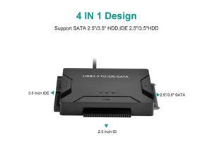 USB 3.0 To IDE SATA Converter External Hard Disk Universal Adapter Data Transfer Converter for 2.5/ 3.5 Inch Optical Drive HDD SSD,with US plug