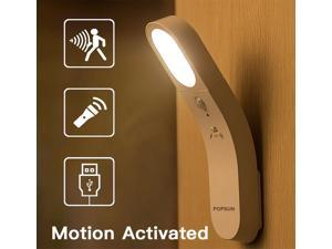 Motion Sensor LED Night Light USB Rechargeable Handheld Cordless Wall Light for Bedroom Bathroom Stairs Hallway Nursery Night Lamp