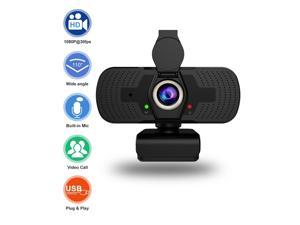 Webcam with Microphone Privacy Cover, Hannord 1080P HD Streaming Web Camera for PC, Laptop, Desktop, Plug and Play USB Computer Video Web Cam for Calling Conferencing Recording Zoom, Skype, YouTube