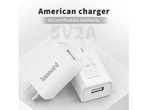 USB Wall Charger, Hannord 2-Pack 5V 2A Power Adapter Universal Travel Charger USB Plug Cell Phone Charger Block Cube Compatible with iPhone, iPad, Google Nexus, Samsung, LG, HTC, Moto, Kindle (White)