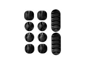 Cable Clips, Hannord 10 Pack Black Cord Organizer Cable Management for Organizing Cable Cords Home and Office, Self Adhesive Cord Holders