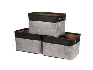 Hannord Large Storage Basket Bin Set [3-Pack] Storage Cube Box Foldable Canvas Fabric Collapsible Organizer With Handles For Home Office Closet (Black / Grey)