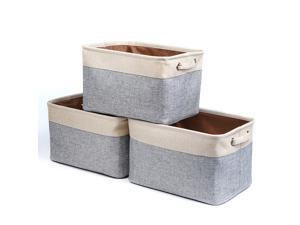Hannord Large Storage Basket Bin Set [3-Pack] Storage Cube Box Foldable Canvas Fabric Collapsible Organizer With Handles For Home Office Closet (Beige / Grey)