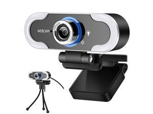 Hannord Webcam 1080 HD Live Streaming Webcam with Light Stereo Microphone & Tripod Stand, Video Web Camera for Online Class/Zoom Meeting/Skype Calls/Facetime, PC/Mac/Laptop/Desktop (with Tripod Stand)