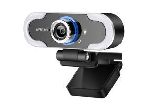 Hannord Webcam 1080 HD Live Streaming Webcam with Light Stereo Microphone, Video Web Camera for Online Class/Zoom Meeting/Skype Calls/Facetime, PC/Mac/Laptop/Desktop