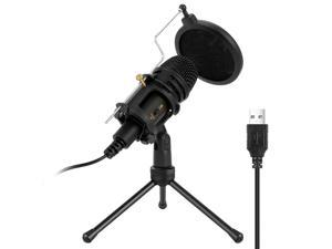 USB Microphone, Hannord Condenser Computer PC Mic with Tripod Stand, Pop Filter, Shock Mount for Gaming, Streaming, Podcasting, YouTube, Voice Over, Skype, Twitch, Compatible with Laptop Desktop