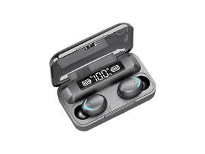 Wireless Bluetooth Earbuds Noise Cancelling Headphones with Charging Case 9D Stereo Earphones Earbuds IPX7 Waterproof Bluetooth 5.0 Wireless Sport Earbuds (Black, Without Strap String)