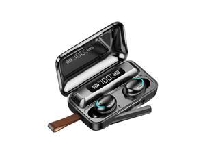 Wireless Bluetooth Earbuds Noise Cancelling Headphones with Charging Case 9D Stereo Earphones Earbuds IPX7 Waterproof Bluetooth 5.0 Wireless Sport Earbuds (Black, With Strap String)