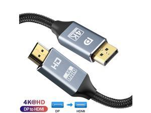 DisplayPort to HDMI Cable, Hannord [High Speed 4K 30Hz UHD, 2K 60Hz, 1080P 120Hz] Uni-Directional Nylon Braided Gold-Plated DP to HDMI Cord Display Port to HDMI Male Connector - 6Feet