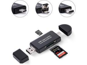Hannord Micro SD Card Reader, 3-in-1 USB 2.0 Memory Card Reader OTG Adapter with Standard USB Male & Micro USB, USB C Male Connector USB C for PC/Laptop/Smart Phones/Tablets with OTG Function