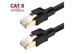 Cat8 Ethernet Cable, Outdoor&Indoor, 6.6FT Heavy Duty High Speed 26AWG Cat8 LAN Network Cable 40Gbps, 2000Mhz with Gold Plated RJ45 Connector, Weatherproof S/FTP UV Resistant for Router/Gaming/Modem