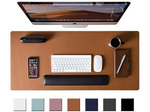 """Leather Desk Pad Protector,Mouse Pad,Office Desk Mat,31.5"""" x 15.7"""" Non-Slip PU Leather Desk Blotter,Laptop Desk Pad,Waterproof Desk Writing Pad for Office and Home (Brown)"""