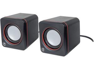 Manhattan USB Stereo Speaker System with 3.5 mm Audio Plugs to Connect to a Laptop, Notebook or Desktop Computer, Volume Controller, Black with Orange Highlights