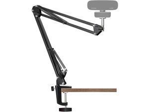 Webcam Stand, Webcam Clamp Mount, Adjustable Rotatable Cantilever Scissors Long Arm Bracket, With Aluminum Fixing Clip-Built-In 1/4 Inch Screw For Logitech Webcam C930e, C930, C920, Etc.