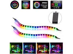 PC Addressable RGB LED Strip Lights Kit - Magnetic Rainbow PC Case Lighting, 2PCS 42LEDs ARGB Strip for 5V 3pin RGB Header Motherboard Asus Aura, Asrock RGB Led, Gigabyte RGB Fusion, MSI Mystic Light