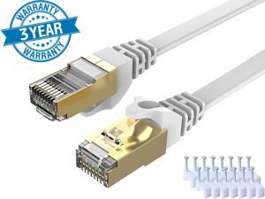 CAT 7 Ethernet Cable 100 ft White Flat Gigabit RJ45 LAN Wire High-Speed Patch Cord with Clips for Gaming, Switch, Modem, Router, Coupler