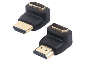 HDMI 90 And 270 Degree Right Angle Adapter Gold Plated High Speed HDMI Male to Female Connector Adapter for Roku TV Stick (pack of 2)
