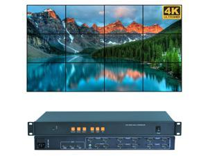 Video Wall Controller 4K 3840x2160@60Hz HDMI 2.0, HDMI 1.4, DP1.2 Inputs with 12 HDMI Outputs for TV Splicing, Support 3x4,3x3,2x5,2x6,6x1,6x2 Display and 180 Degree Rotate